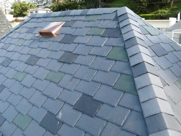 Low-profile Copper Air Vent Over Slate Roof
